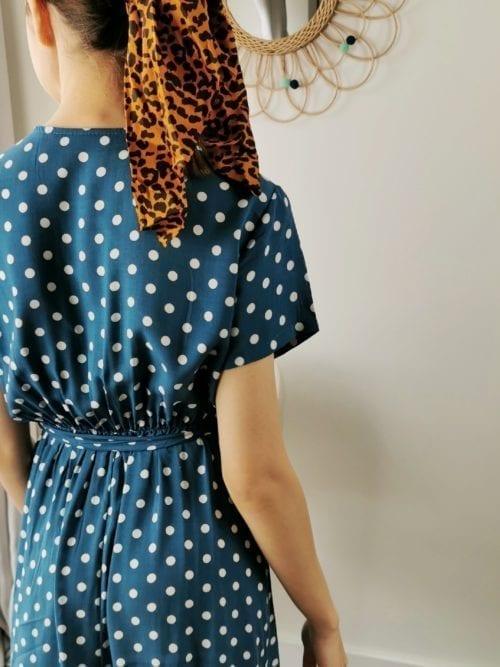 turkus groszki sukienka mini