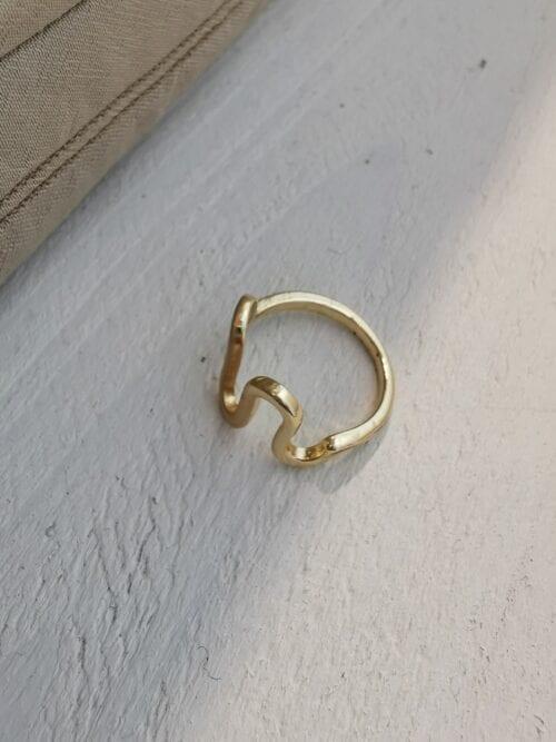 pierścionek falowany złoty