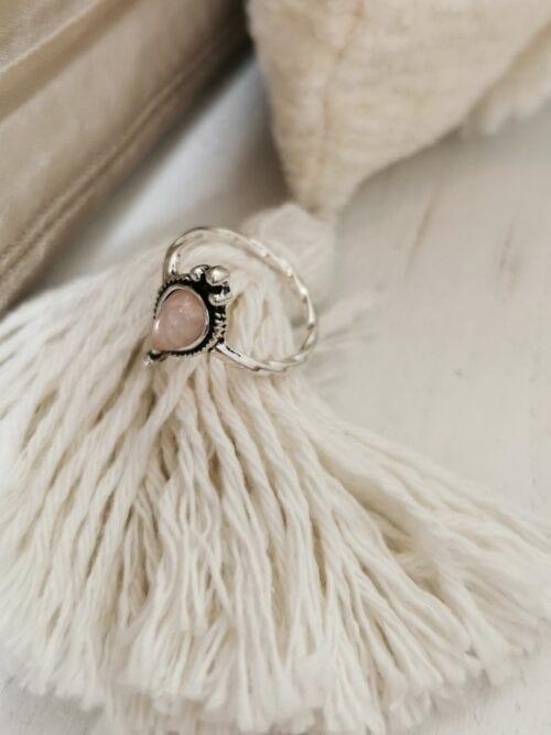 srebrny pierścionek z perłowym oczkiem vintage