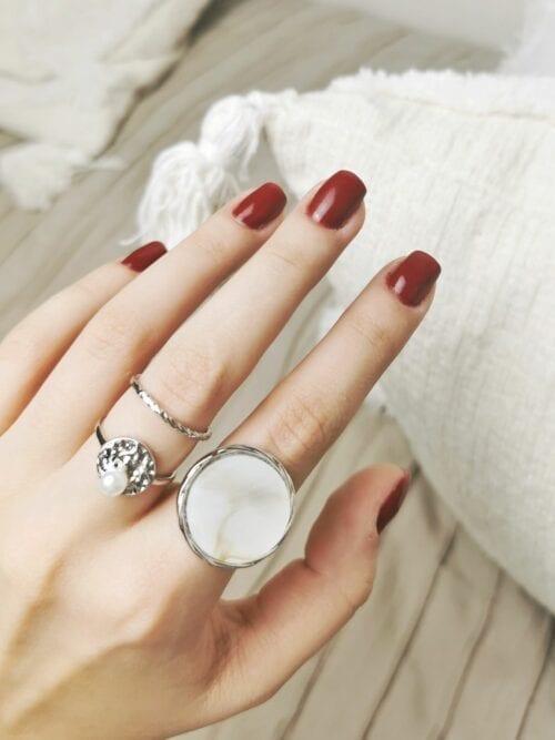 sygnet z masa perłową srebrny