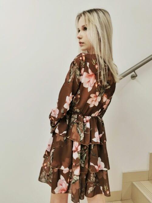 sukienka w kwiaty brązowa krótka