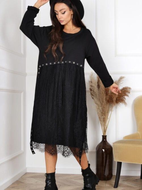 sukienka z bawełny czarna z koronką