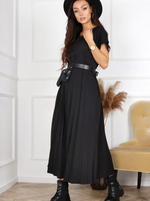 sukienka właska czarna plisowana długa