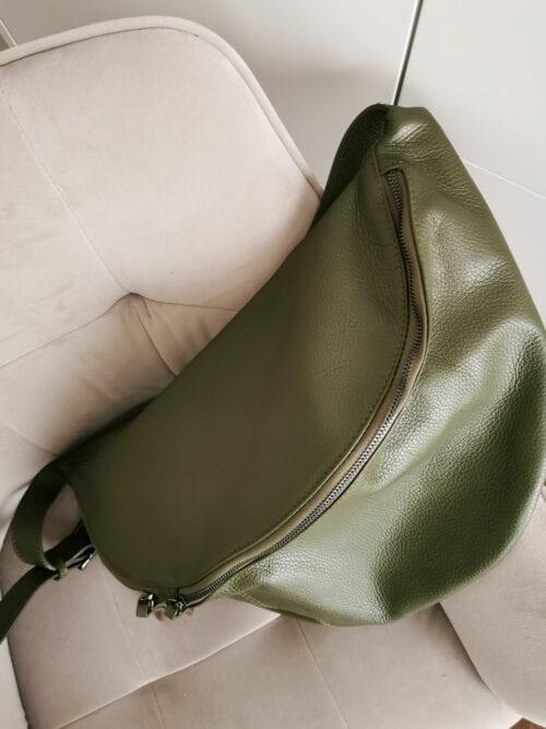 torba skórzana duża zielona