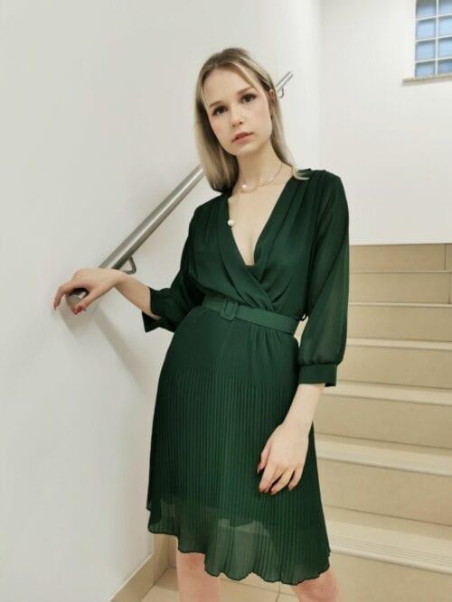 sukienka klasyczna butelkowa zieleń