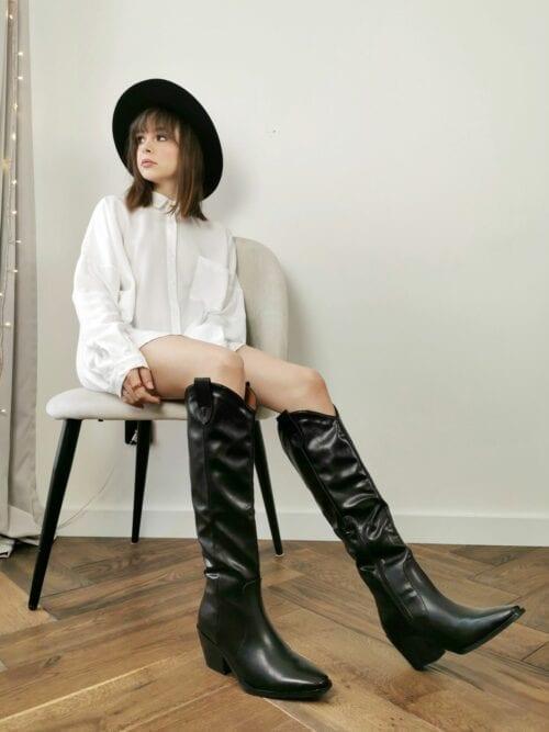 buty kowbojskie czarne kozaki