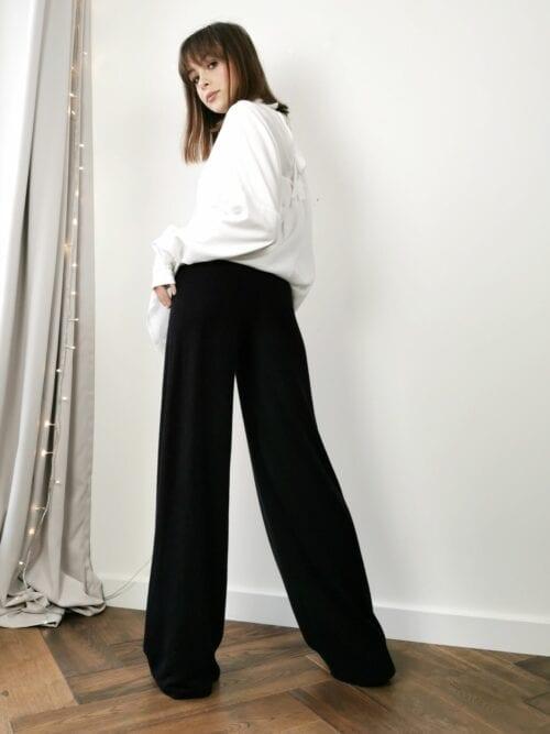czarne dzianinowe spodnie szerokie couloty