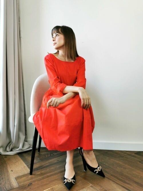 czerwona sukienka bawełniana włoska