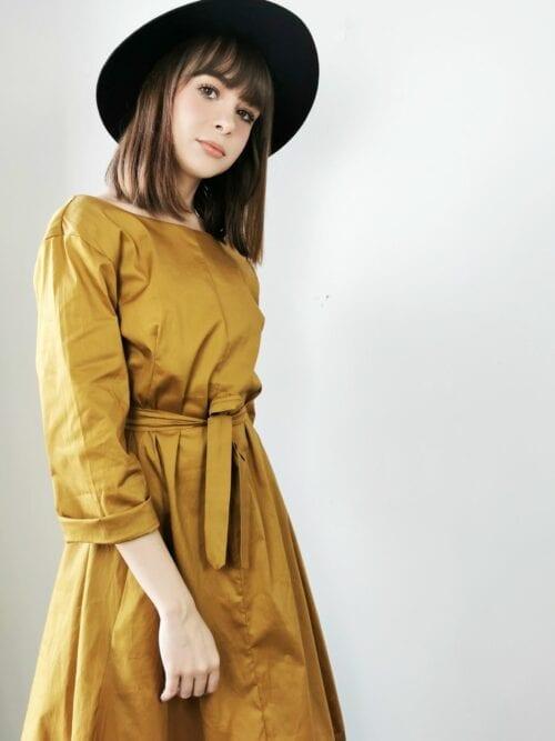 sukienka bawełniana żółta
