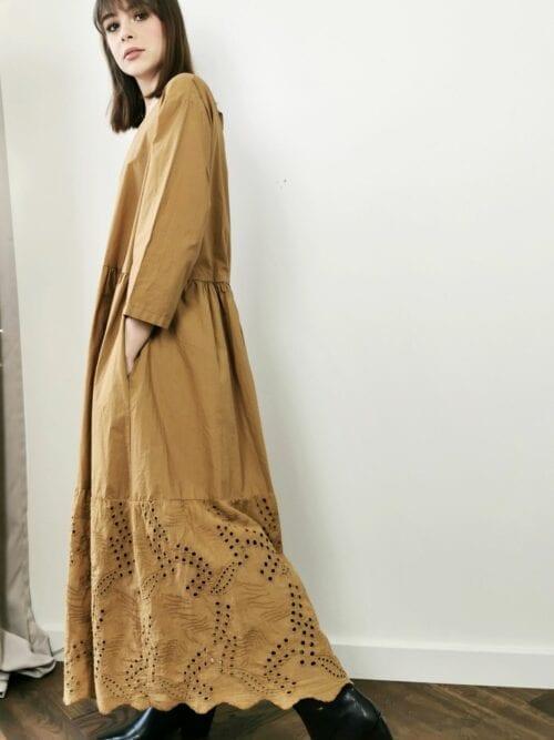 sukienka boho bawełniana kamel