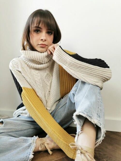 włoski sweter z golfem gruby