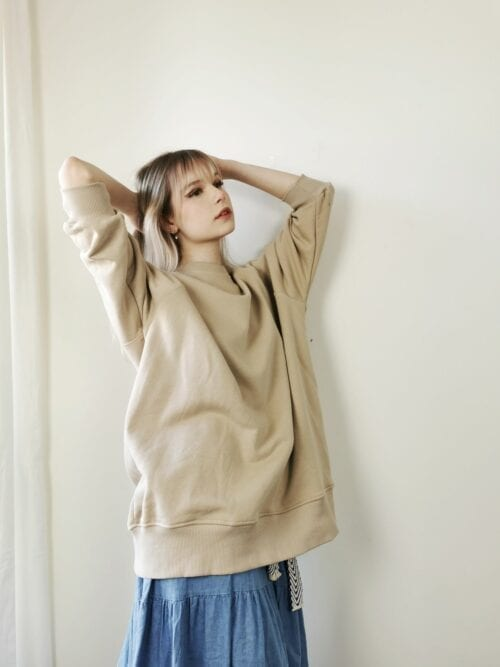 bluza oversize beżowa długa