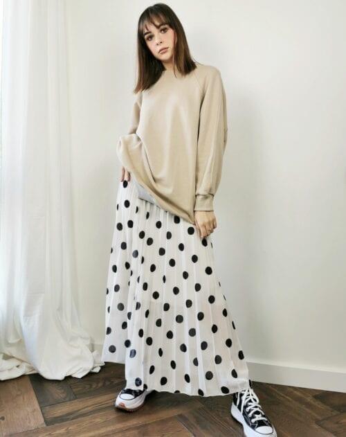 spódnica włoska plisowana biała w czarne groszki