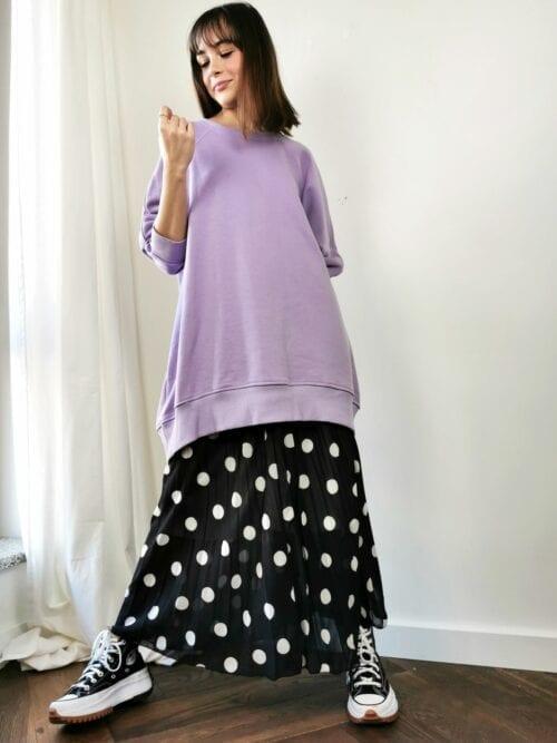 plisowana spódnica czarna w białe groszki włoska