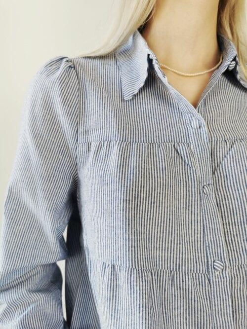 bluzka koszulowa bawełniana w paseczki i na guziczki