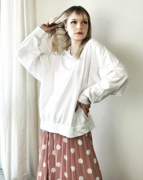 bluzka z bawełny z szerokim rękawem