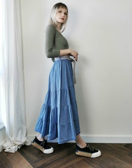 lekka spódnica jeansowa z falban