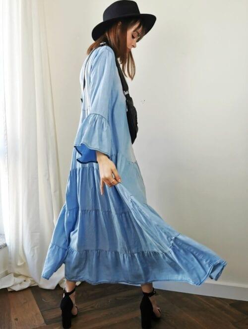 sukienka maxi jeansowa boho