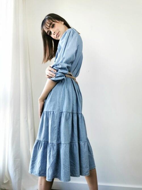 sukienka midi jeansowa z paskiem