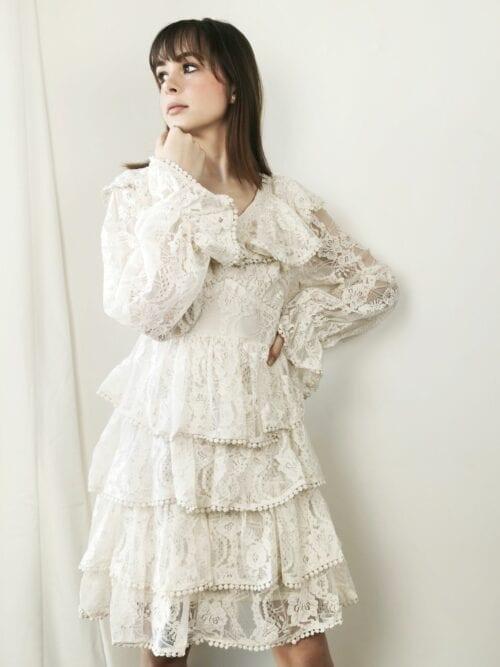 sukienka koronkowa wizytowa nude cottage girl