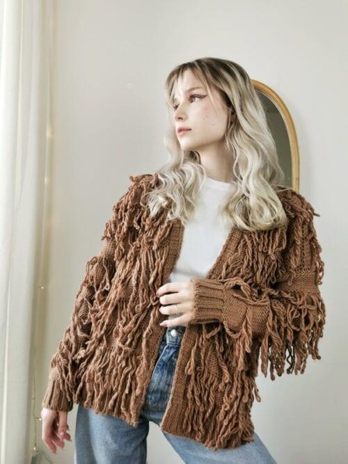 kardigan sweter boho brązowy