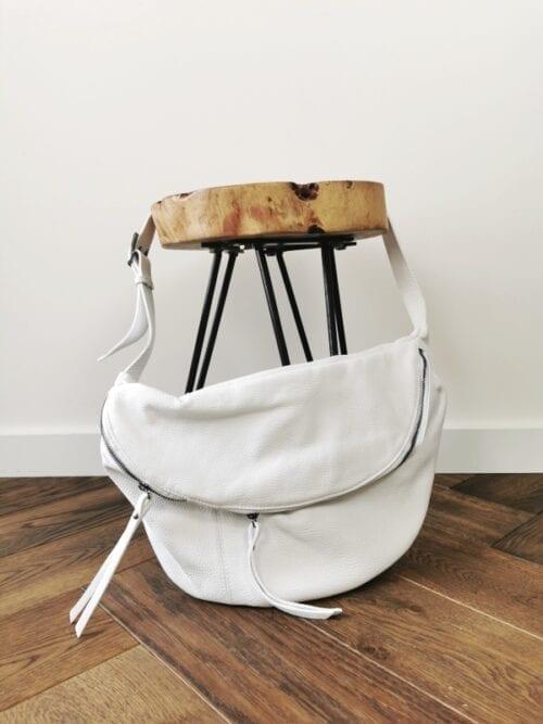 torba ze skóry biała