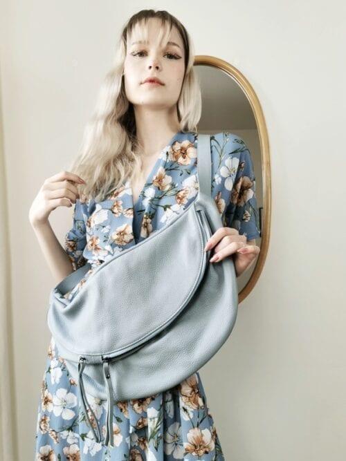 torba ze skóry błękitna