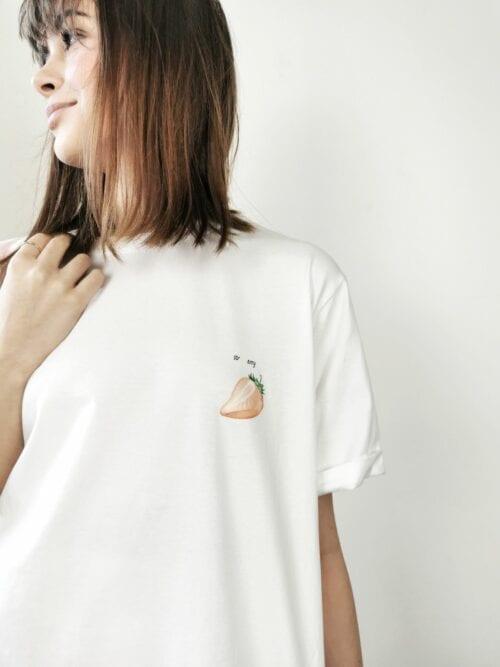 koszulka bawełniana biała z truskawką
