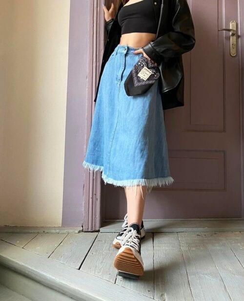 spódnica jeansowa niebieska włoska