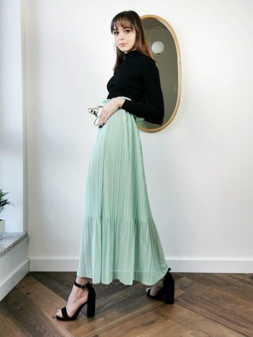 sukienka miętowa długa
