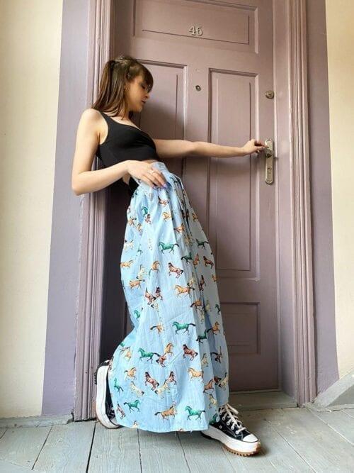 spódnica długa bawełniana niebieska na lato