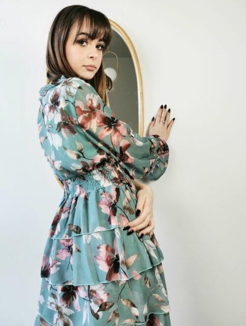 sukienka w kolorze morskim w kwiaty