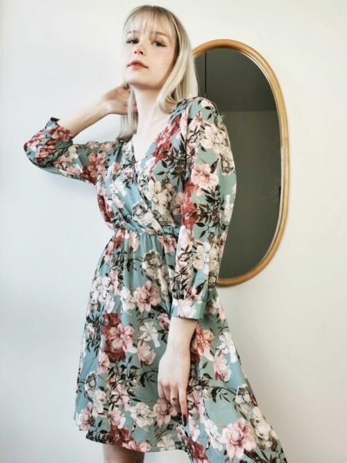 sukienka krótka kopertowa