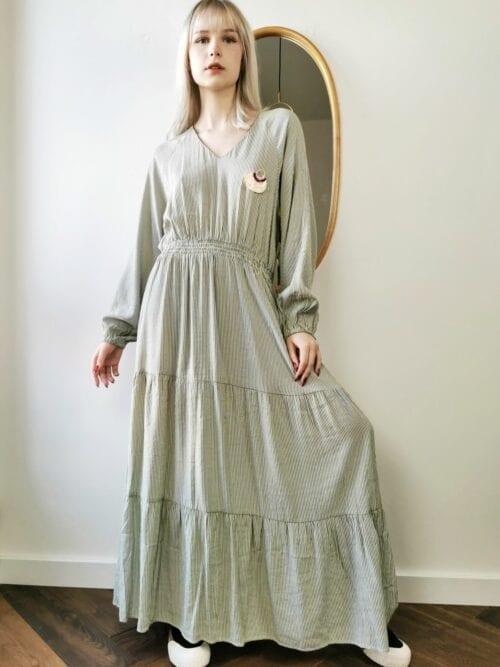 sukienka boho w zielone paseczki