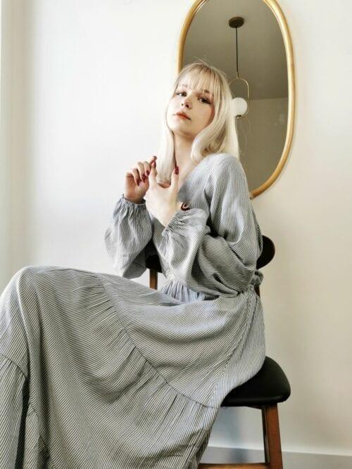 sukienka boho z wiskozy w paseczki
