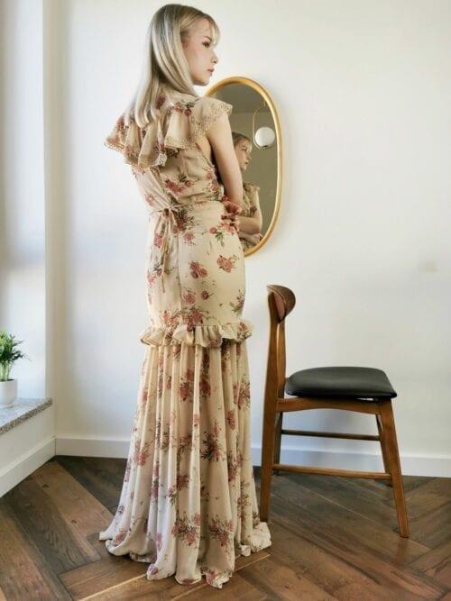 sukienka maxi wizytowa syrenka w kwiaty