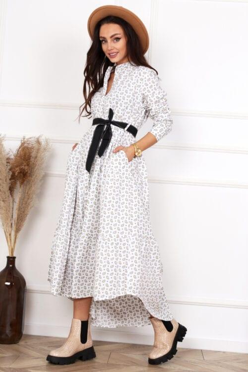 sukienka z bawełny asymetryczna biała