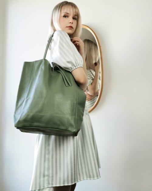 torba szoper skórzana zielona