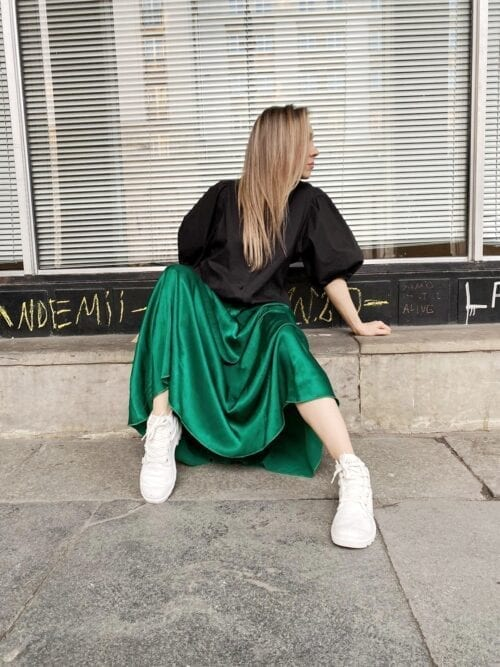 spódnica szmaragdowa maxi butelkowa zieleń włoska
