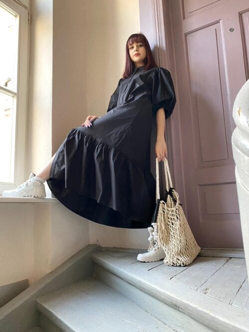 sukienka over czarna z bawełny