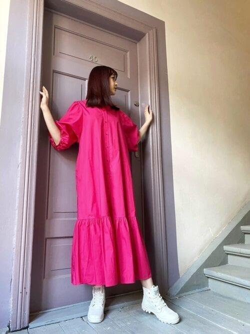 sukienka amarantowa szeroka bawełniana