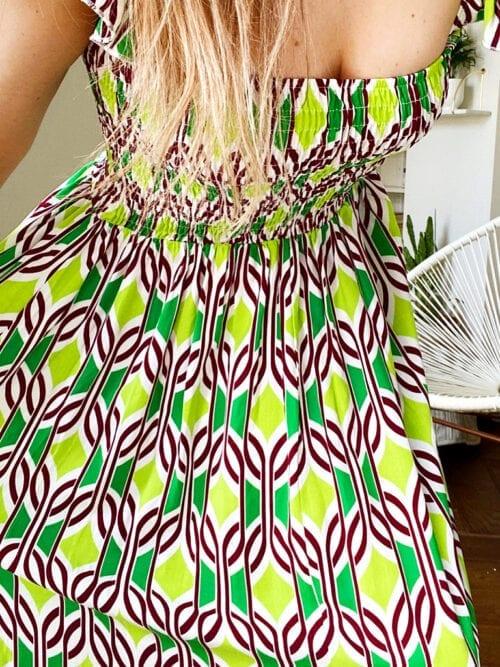 sukienka z wiskozy neonowa długa włoska