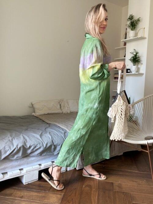 koszula ombre długa kolorowa lniana