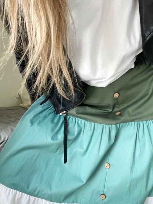 spódnica bawełniana w pasy z guzikami