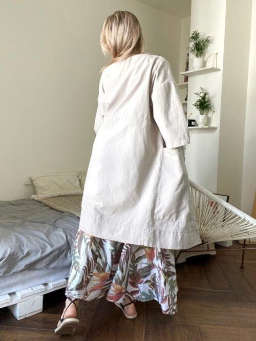 płaszcz bawełniany włoski piaskowy