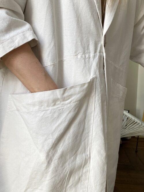 płaszcz biały bawełniany na lato