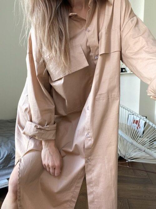 koszula długa kamel