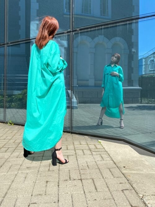 sukienka koszulowa turkusowa