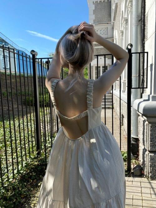 sukienka z wiskozy włoska długa w paseczki