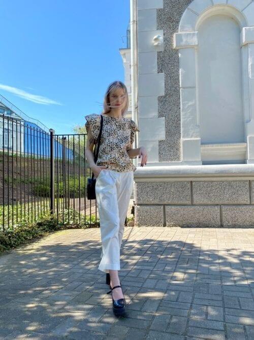 bluzka bawełniana na guziczki wizytowa